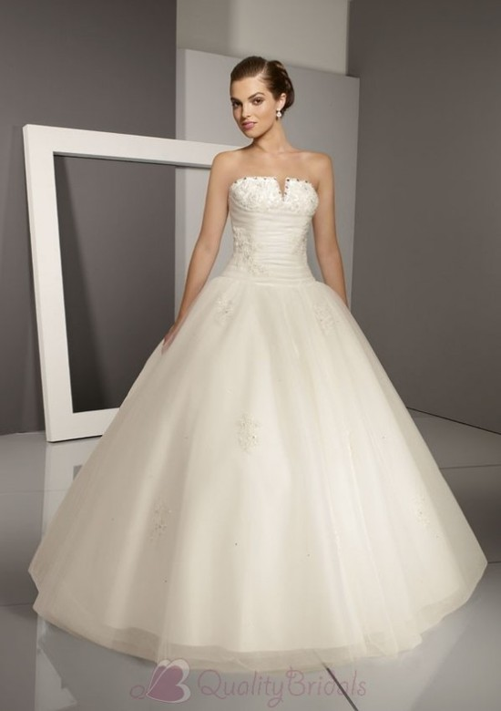 Ivory-Strapless-Crystal-beaded-Satin-Tulle-Ball-Gown-Wedding-Dress-W1321