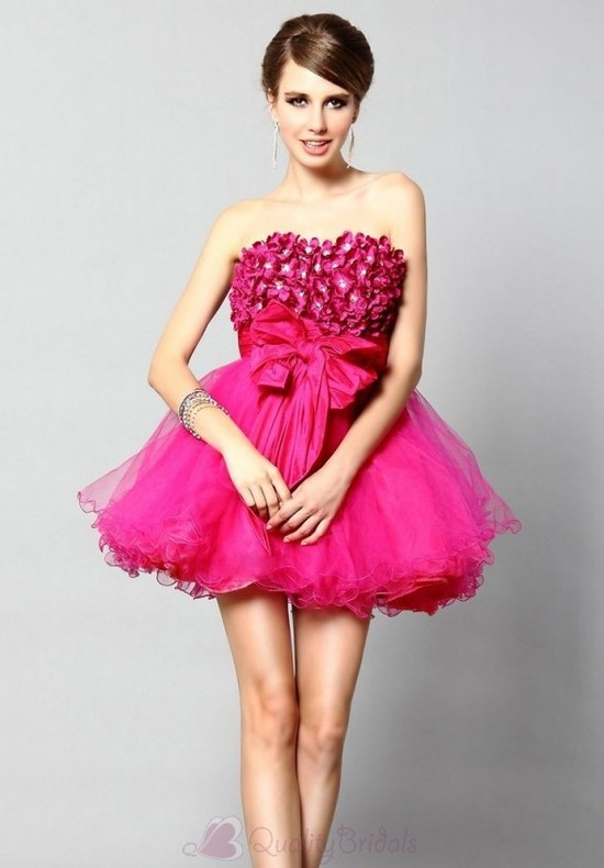 Strapless-A-Line-Short-Organza-Cocktail-Dress-P3108