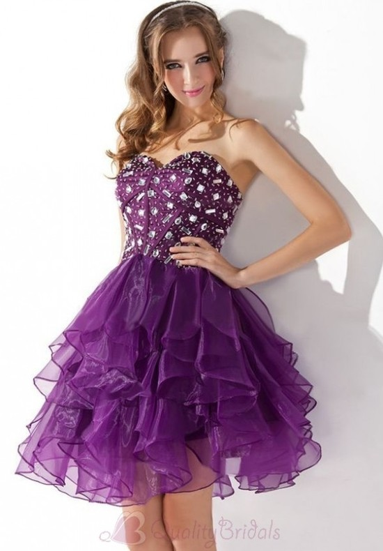 Strapless-Sweetheart-A-line-Full-Skirt-Organza-Prom-Dress-P3093