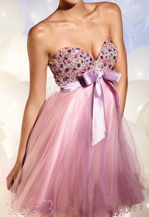 Strapless-Sweetheart-Empire-Short-Organza-Prom-Dress-P3083