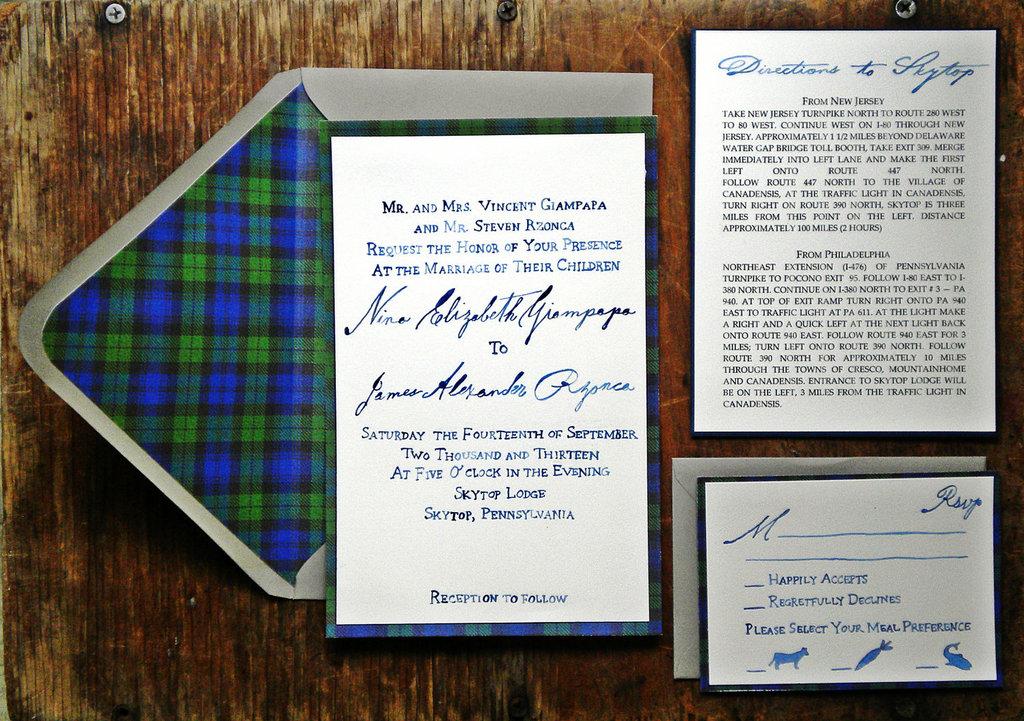 elegant plaid wedding invitations