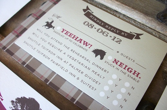 Rustic Woodland Wedding Invitation with Tartan Border