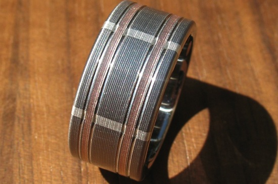 Plaid Inspired Mens Wedding Band