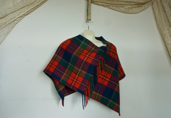 Plaid Poncho for Cozy Winter Brides