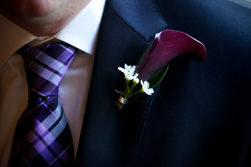 Elegant Groom Wears Purple Plaid Tie