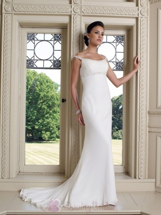 Bateau-Neckline-Beaded-Chiffon-Mermaid-Trumpet-Simple-Wedding-Dress-W1090