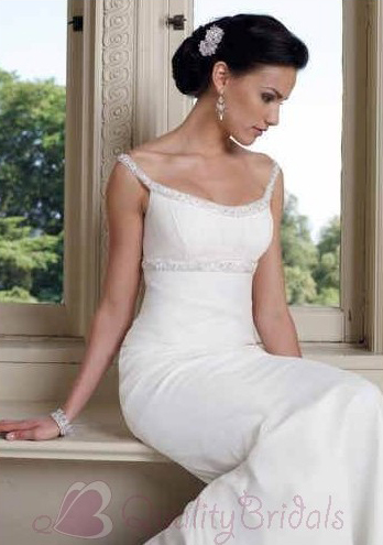 Bateau-Neckline-Beaded-Chiffon-Mermaid-Trumpet-Simple-Wedding-sDress-W1090