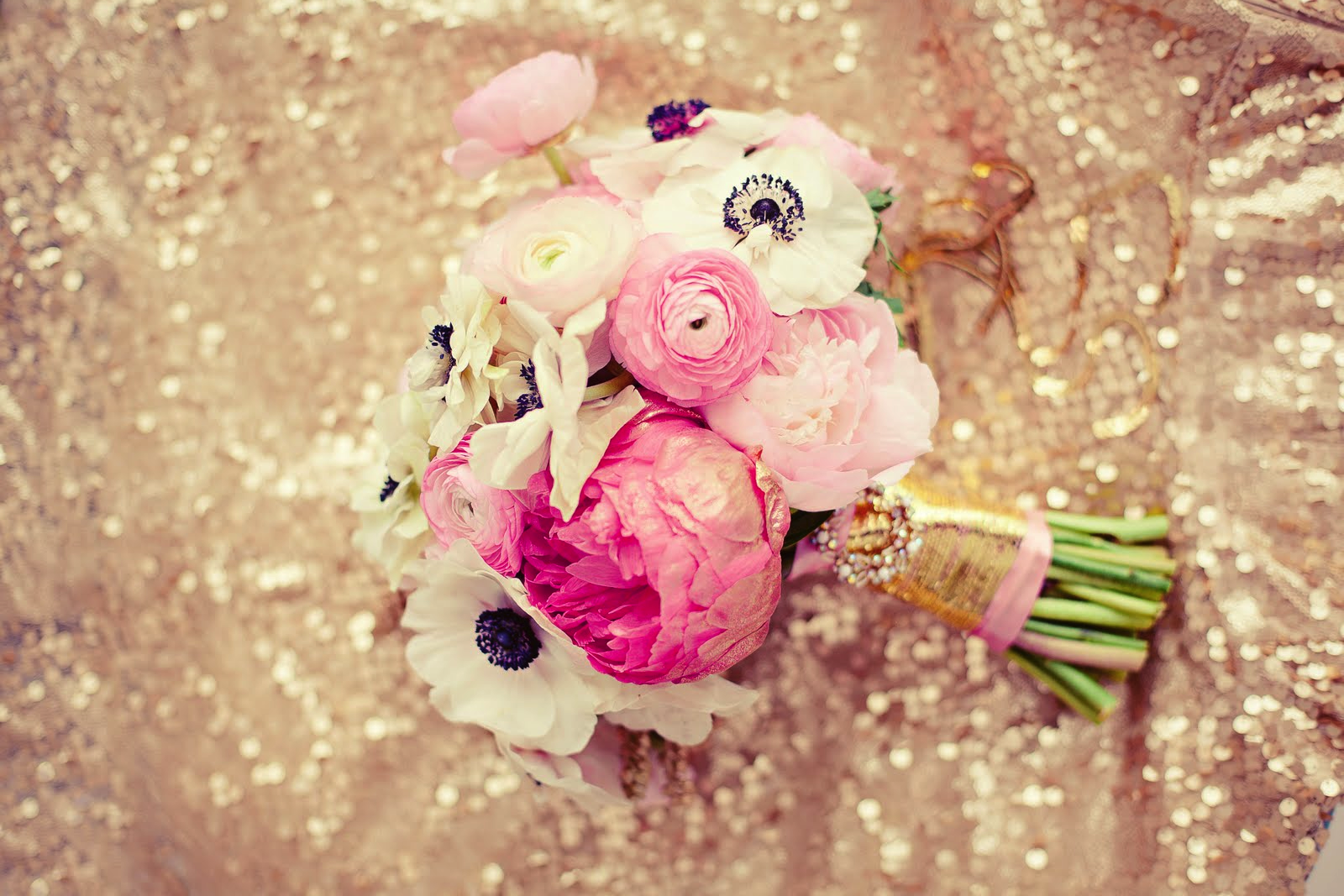 Wedding Flowers Pink And Gold : Stunning bridal bouquet light pink ivory black and