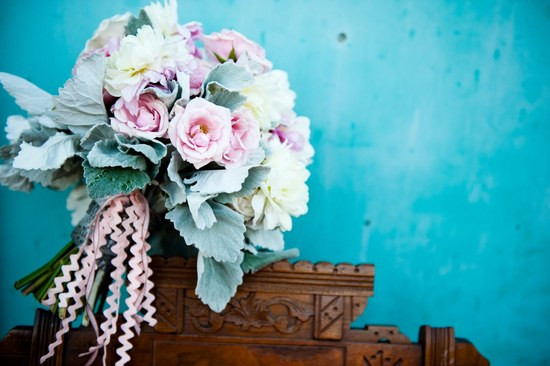 Pastel Bridal Bouquet with Lambs Ear and Light Pink and Ivory Blooms