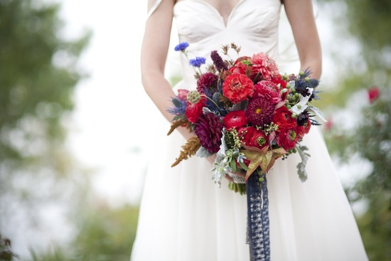 Rich Red Bridal Bouquet with Navy Lace ribbon