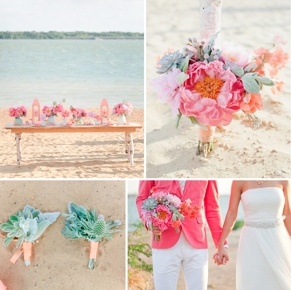 Beach Romance Wedding Flowers Pink Peonies