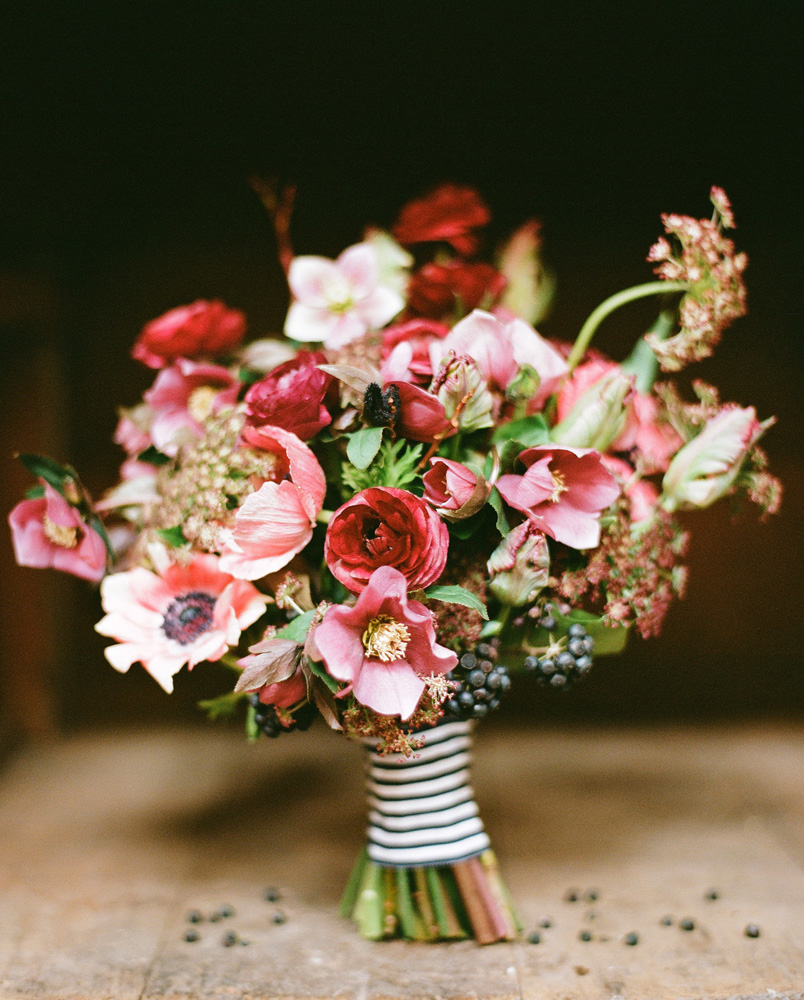 Romantic Red Pink Green Bridal Bouquet | OneWed.com