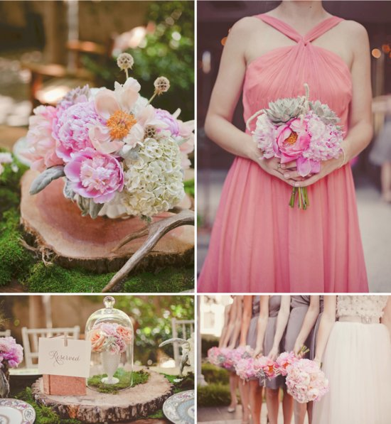 Romantic Wedding Flowers Light Pink Green Succulents