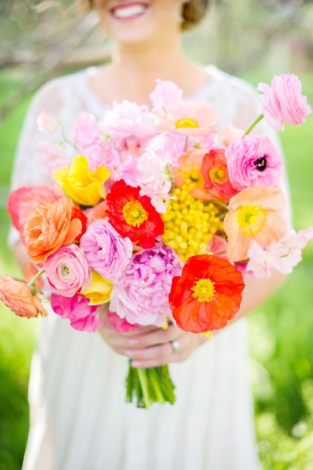 Bright Bold Bridal Bouquet for Spring Summer Weddings