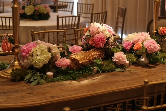 Wedding Reception Florals for Long Banquet Tables