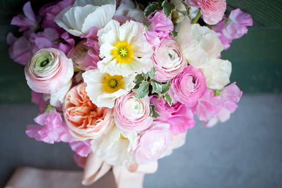 Pink Peach White Bridal Bouquet with Gladiolas