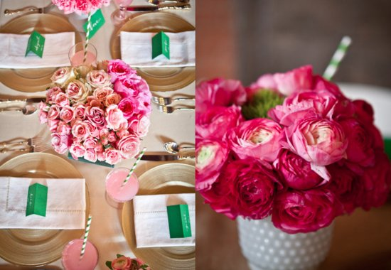 Romantic Pink Wedding Flower Arrangements for Reception