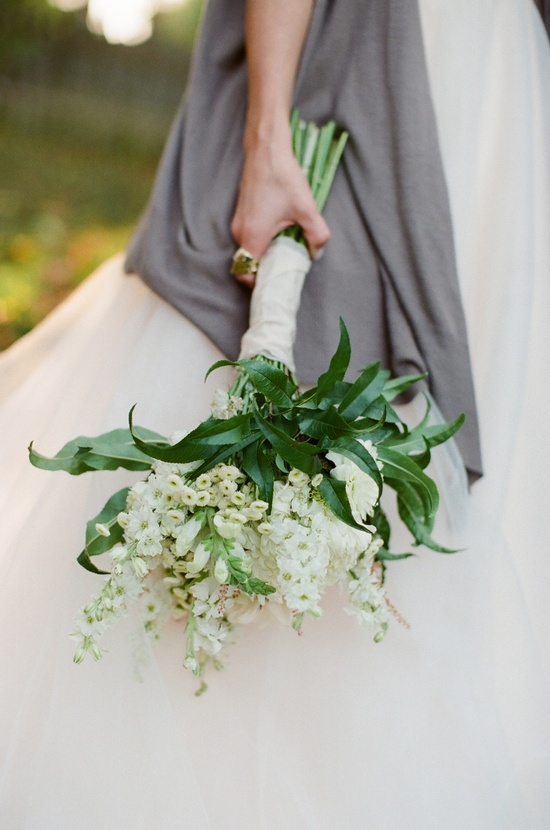 Simple Ivory and Green Wedding Bouquet