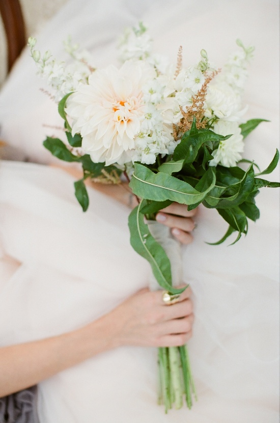 Simple Ivory Peach Wedding Bouquet