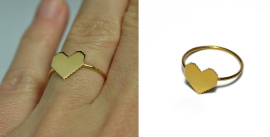 photo of Mini pixel heart ring