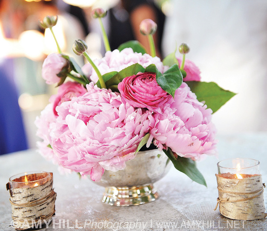 Peony and Rose Wedding Centerpiece