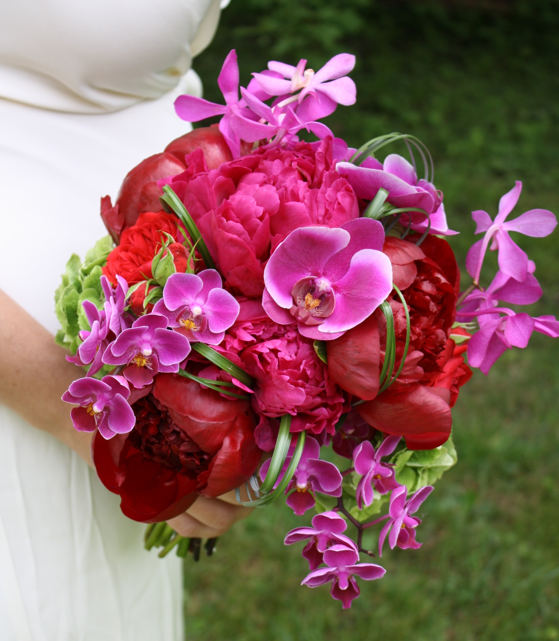Peony and orchid wedding bouquet onewed