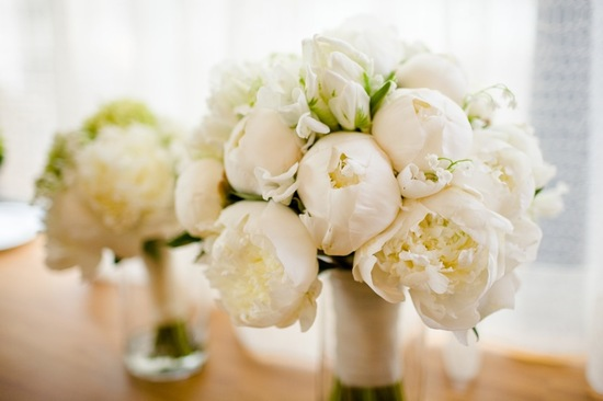 photo of White Peony Bridal Bouquet with Parrot Tulips