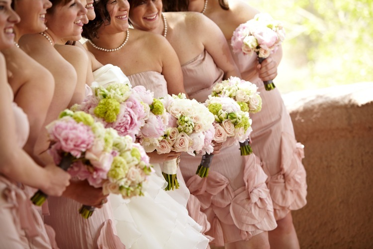 Bride-with-bridesmaids-hold-light-pink-green-ivory-bouquets.full