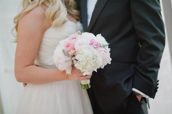 White Light Pink Wedding Bouquet
