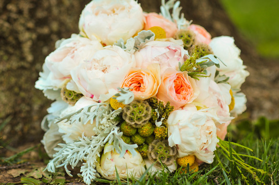 Stunning Soft Peach Ivory Sage Bridal Bouquet