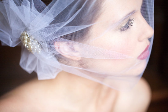Bright White Sheer Birdcage Veil