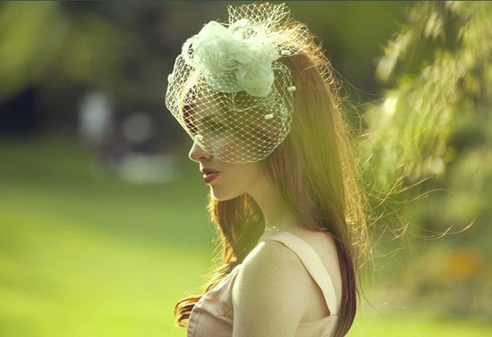 Mint Green Birdcage Bridal Veil