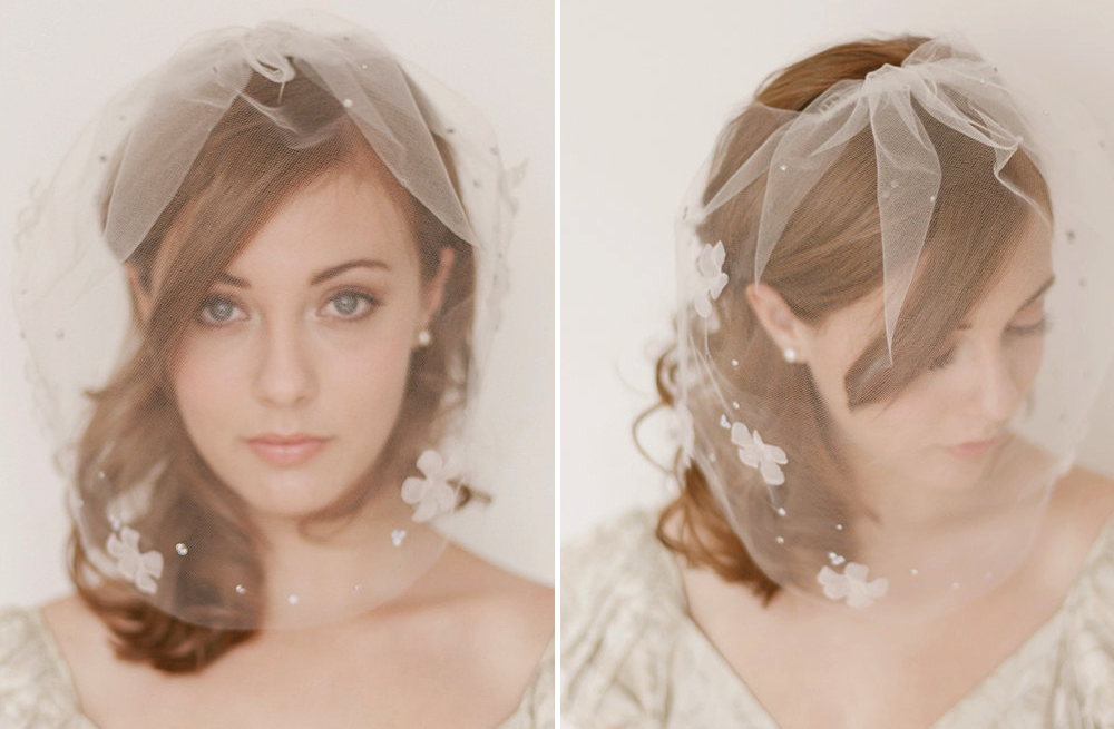 Classic Bridal Veil Birdcage Hair Accessory Floral Petals | OneWed.com