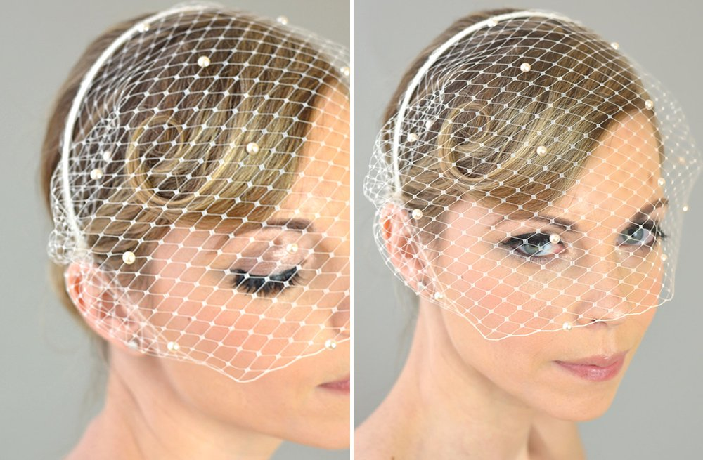 Classic Bridal Veil Birdcage Hair Accessory with Pearls