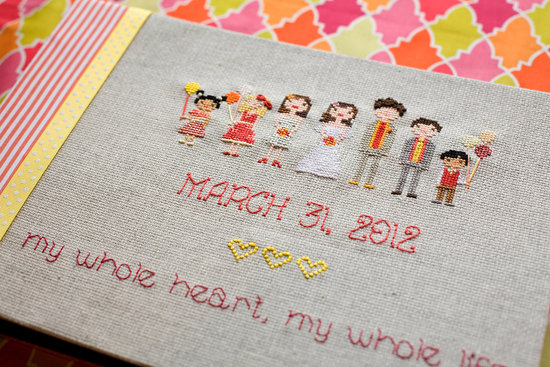 Wedding Guest Book Stitched Bridal Party