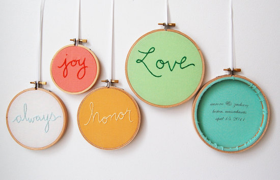 Stitched Wedding Signs Pastel Rainbow