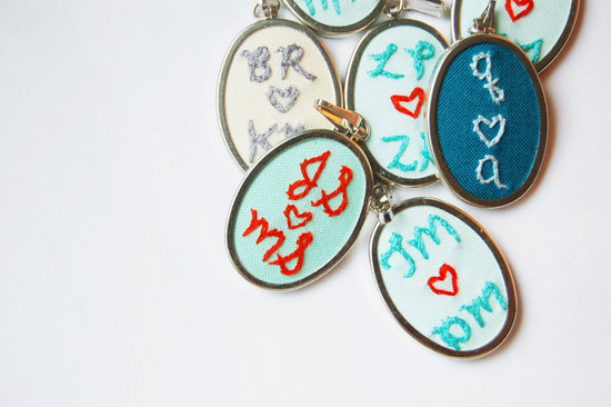 Custom Embroidered bridesmaid pendants