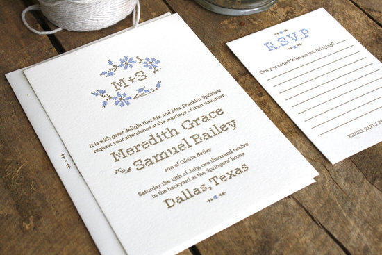 Rustic Romance Letterpress Wedding Invitations