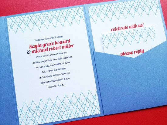 Modern Wedding Invitation Stitched Design