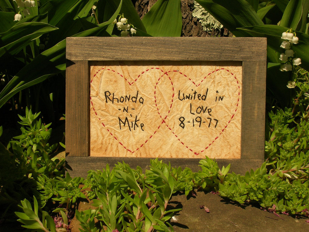 Unique Wedding Sign Handstitched Hearts