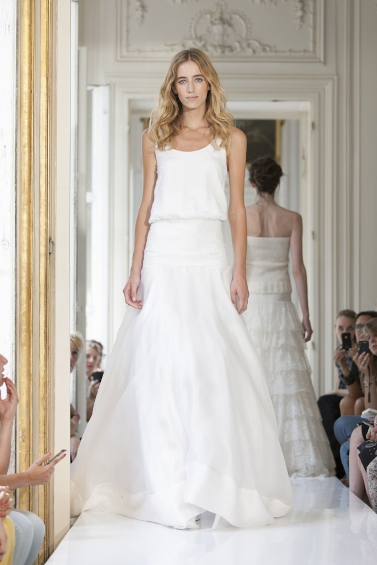 classic a line wedding dress with sheer sleeves and neckline