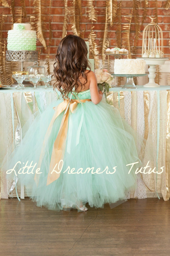 Adorable Flower Girl Dress Mint Green Gold