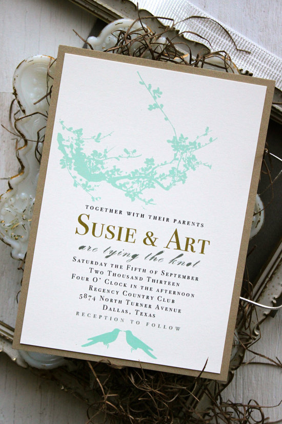 Rustic Romance Wedding Invitation Mint Gold Black and White