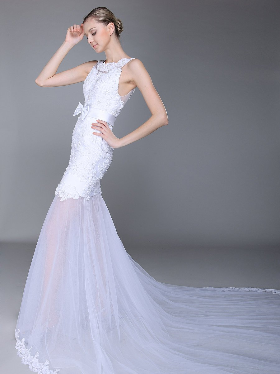 Lace-wedding-dress-with-sheer-drop-waist-skirt.full
