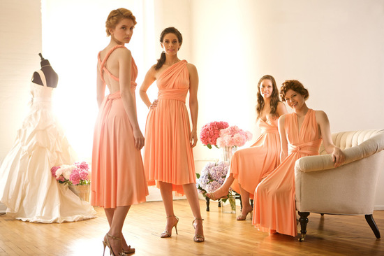 Mix and Match Bridesmaids in Coral