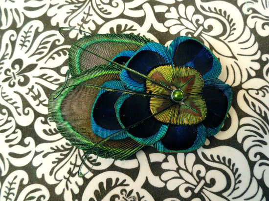 Peacock feather wedding hair clip