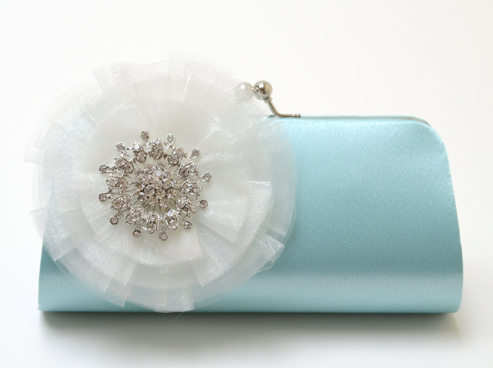 Light Blue Bridal Clutch with White Flower and Rhinestone Brooch