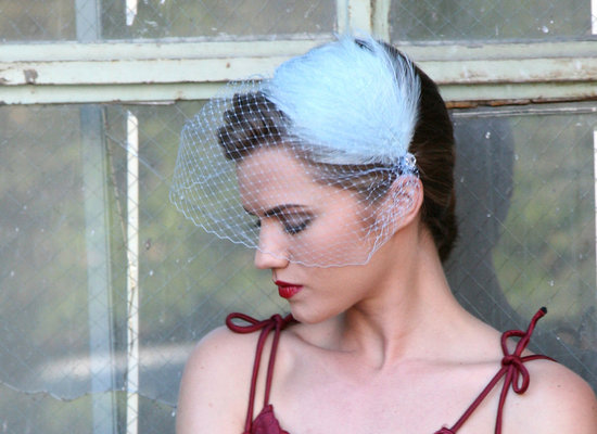 Powder Blue Wedding Veil and Fascinator