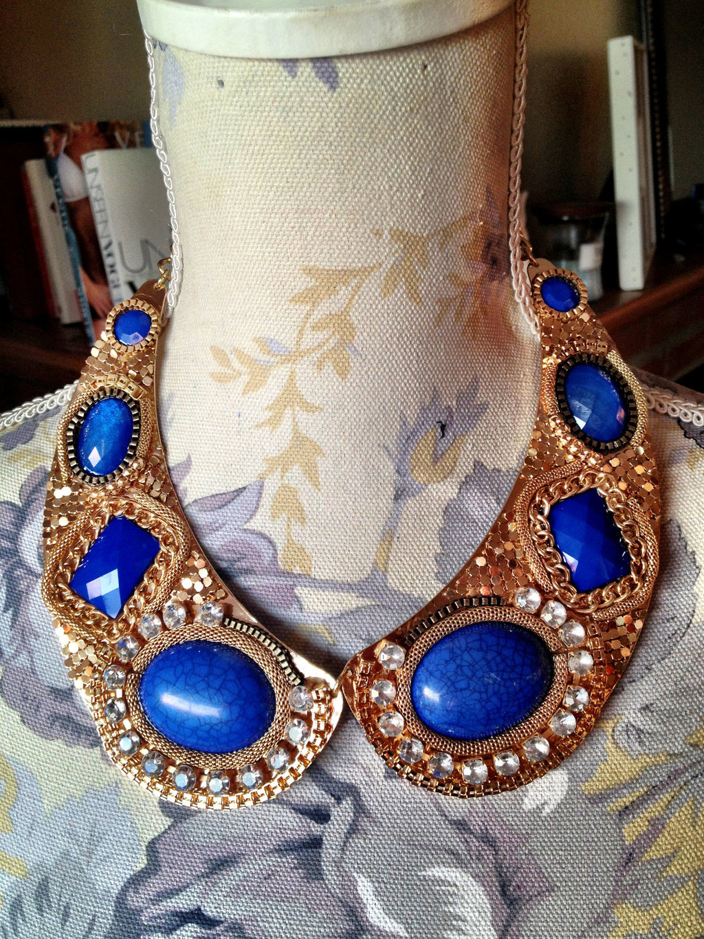 Gold and Blue Statement Wedding Necklace