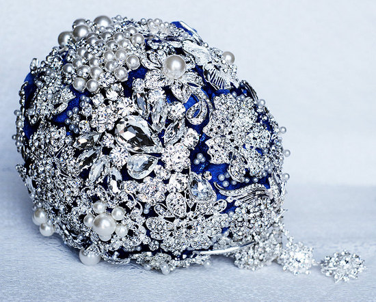 Diamante and Blue Brooch Bridal Bouquet